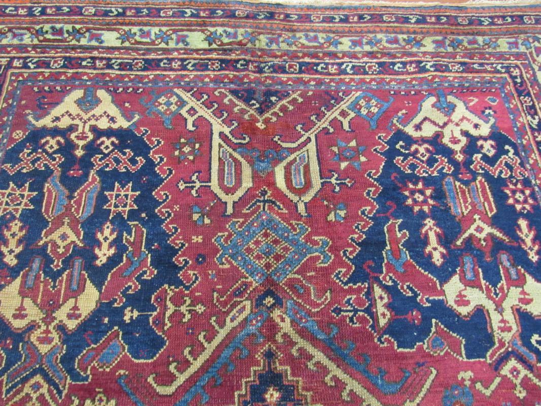 19th Century Square Size Turkish Ushak Rug-855