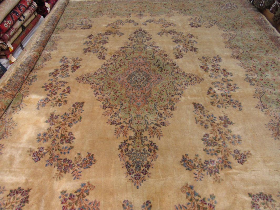 Antique Persian singed large size Kirman Rug-3291