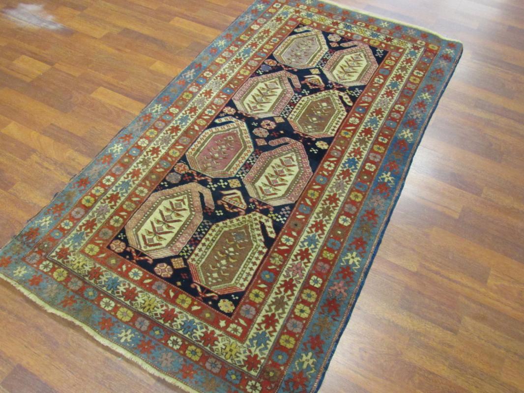 Antique large Boteh Design Gendge Caucasian Rug-