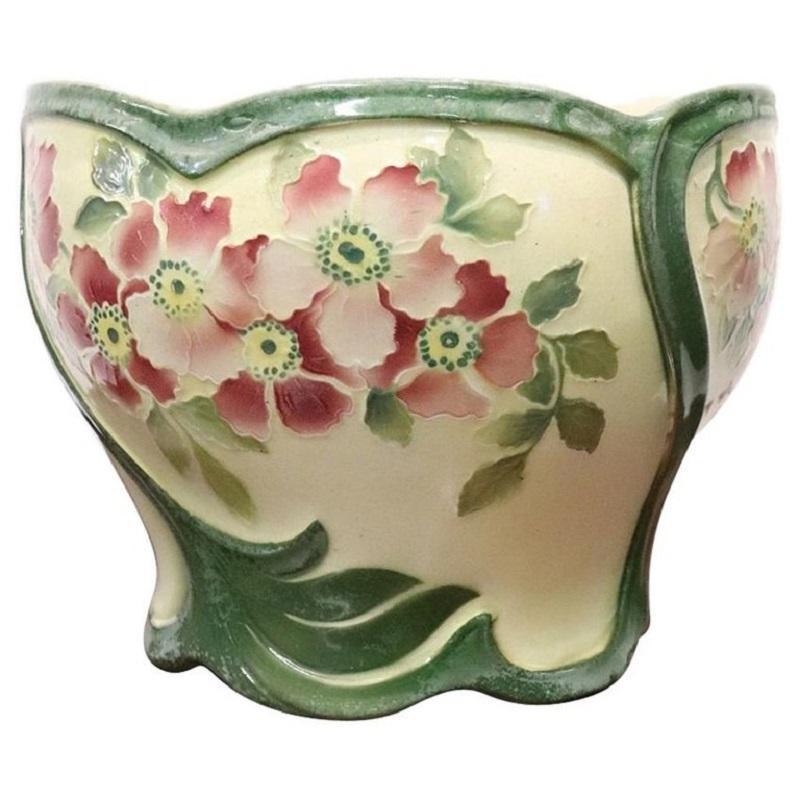 20th Century French Art Nouveau Hand Painted Ceramic Cachepot Vase, 1920s