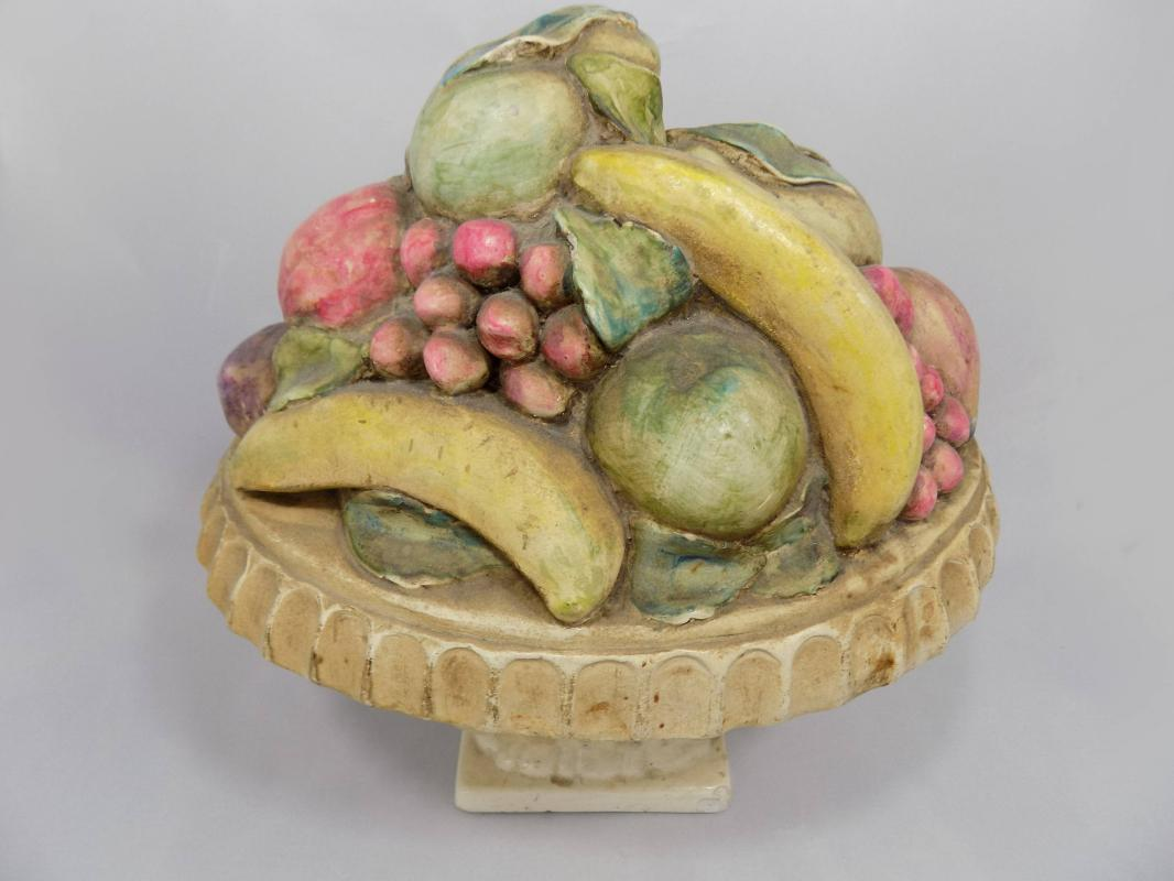 Large Antique Chalkware Urn and Fruit