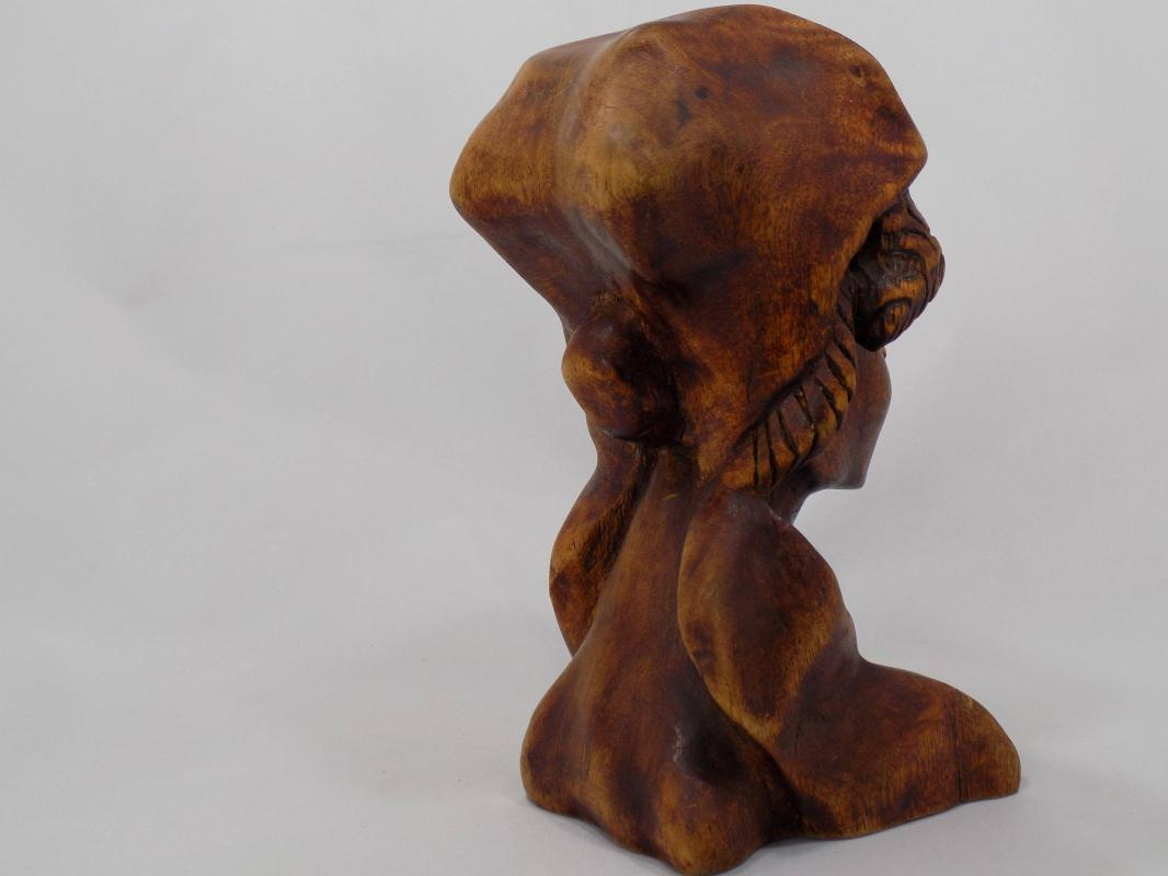 Antique African-American Wood Carving Bust of a Woman