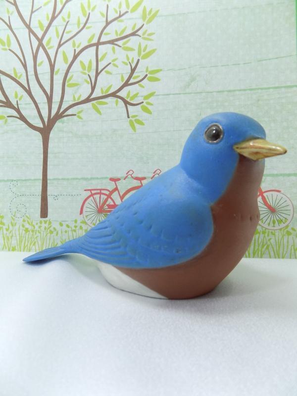 Chester Nicodemus Pottery Bluebird Figurine                      /Hand Painted Ohio Ceramic Art