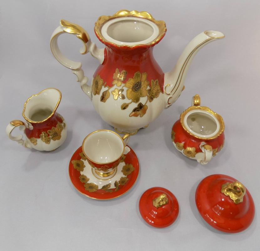 Bavarian Gilded Porcelain Coffee Set by Neukirchner in Waldershof