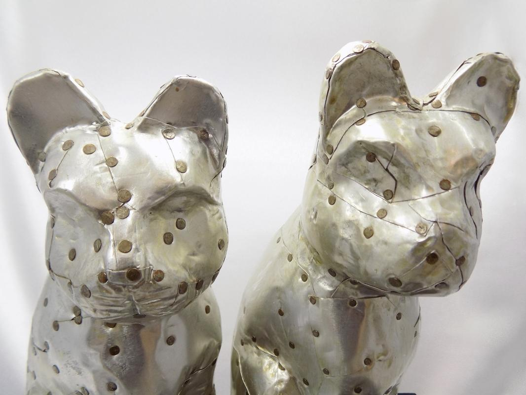 Arthur Court Aluminum Cat Statues and Coffee Table Book
