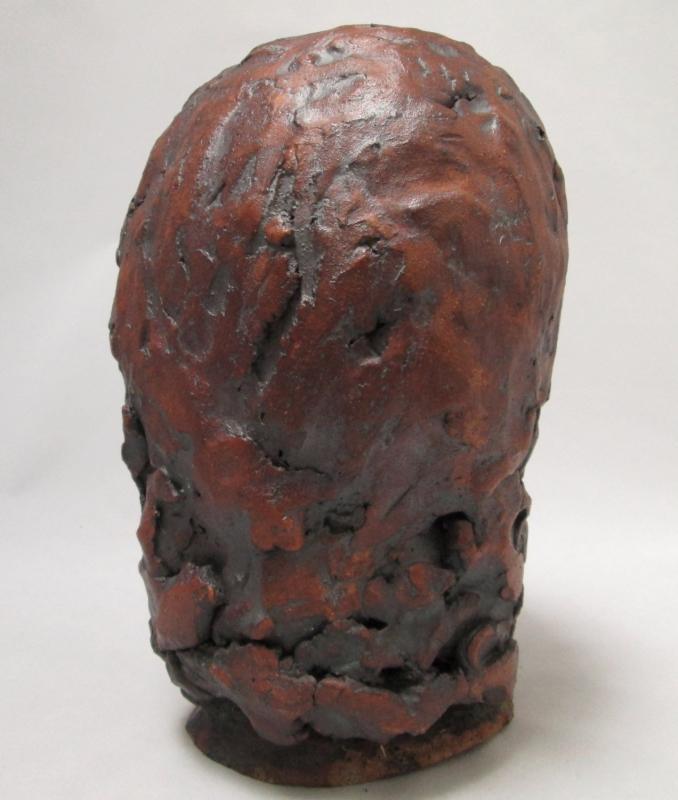 Woman's Head Stoneware Sculpture Bronze Glazed