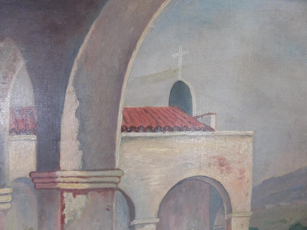 Antique San Juan Capistrano California Mission Oil Painting