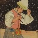 Paul Jacoulet Surimono Snowy Night Korea