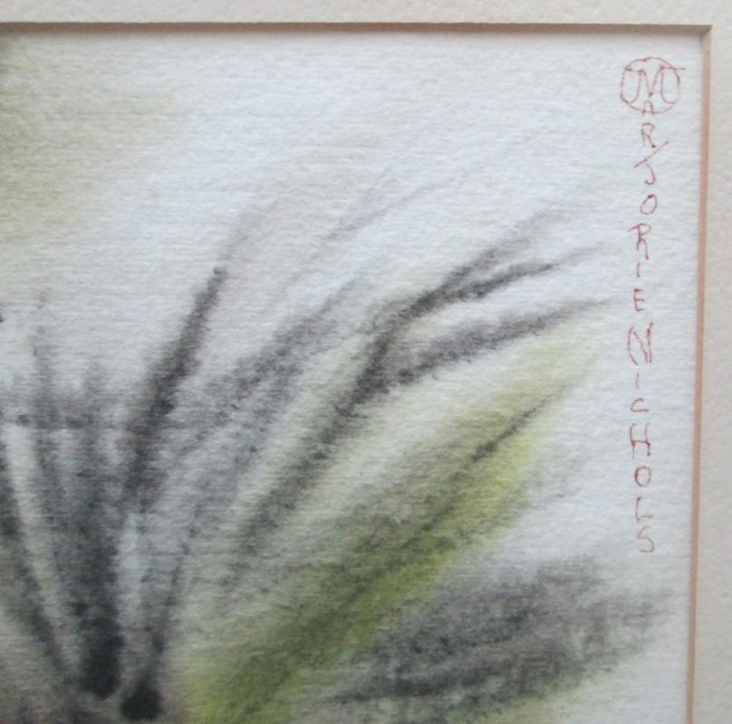 Vintage Watercolor, Listed Artist Marjorie Tolkin Nichols - Quail on Joshua Tree