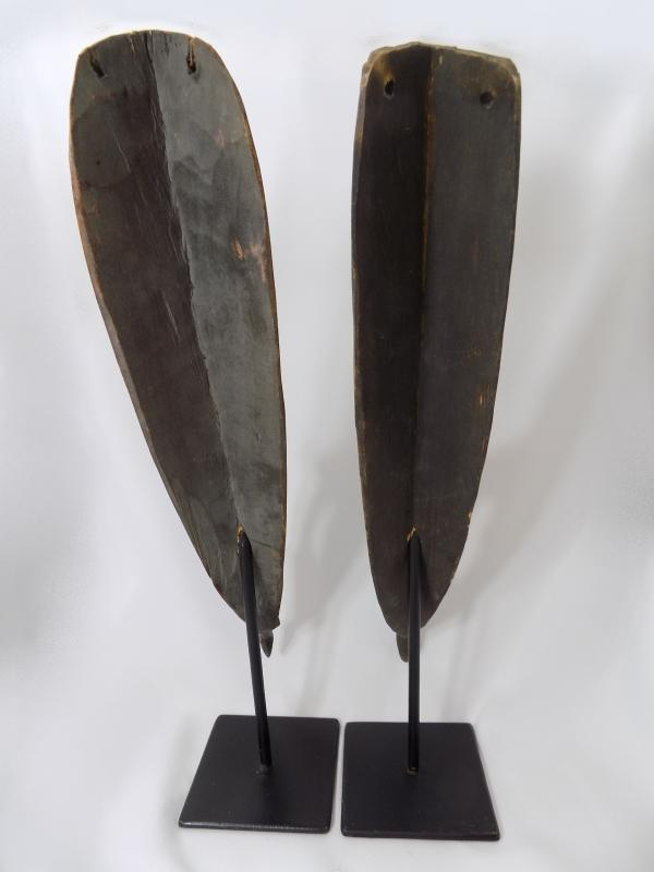 Papua New Guinea Carved Masks on Stands | Cowry Shell Eyes