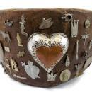 Antique Wooden Memory Bowl With Charms Milagros and Mementos