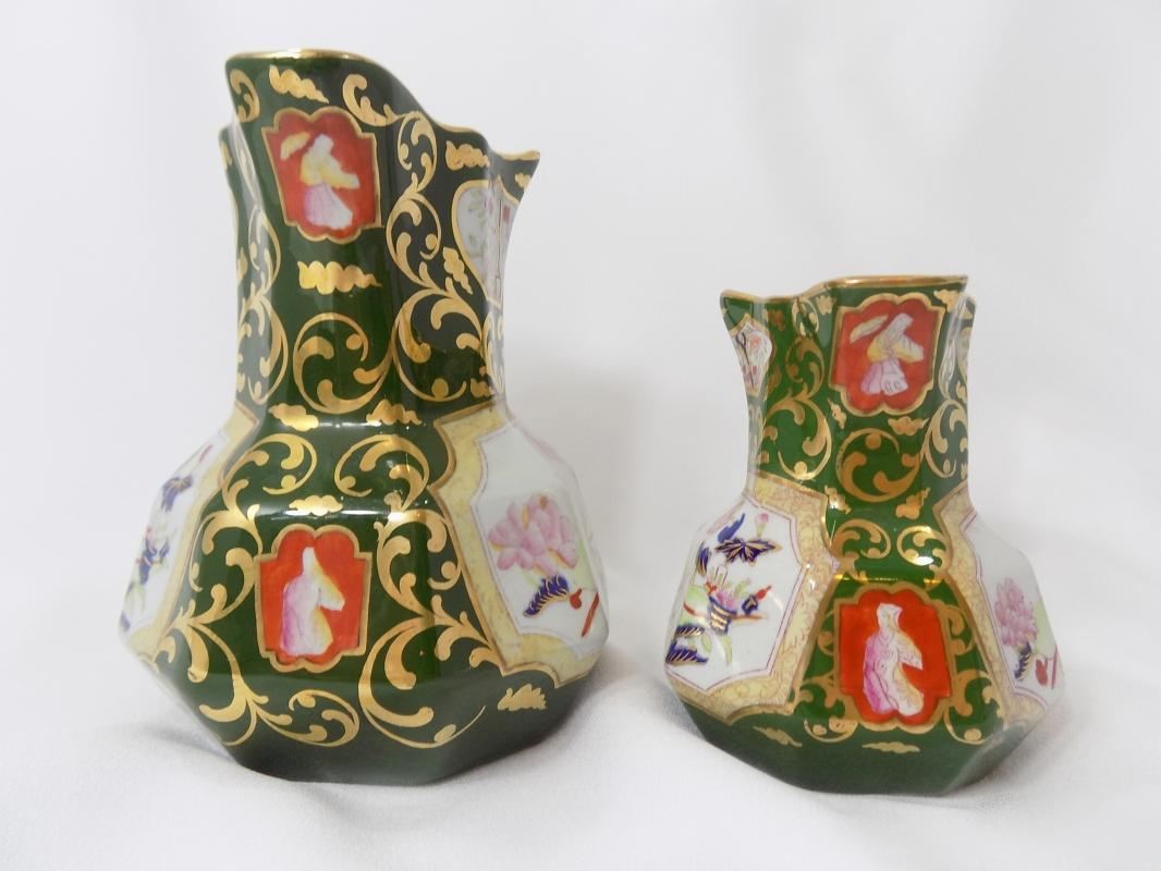 Antique Staffordshire China Pitchers Mason's Patent Ironstone Hydra Jugs