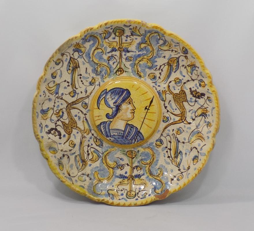 Italian Majolica Antique Plates Renaissance Revival Pair                                           of Portraits, Late 1800's