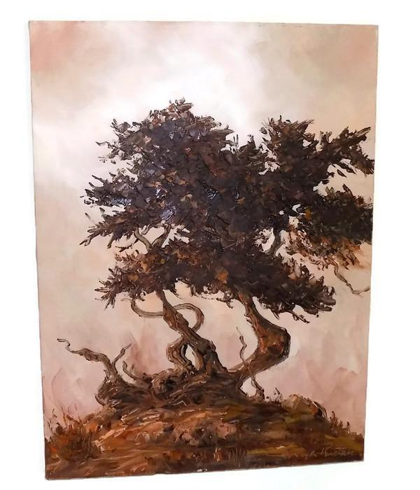 Impression of a Monterey Cypress Tree 1981 Oil Painting by E. Layne Rustan