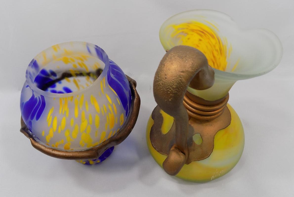 Art Glass Pitcher and Vase by Filip Ravert, Romanian Artist