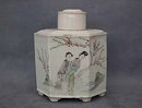 Antique Chinese Export Famille Rose Porcelain Tea Caddy