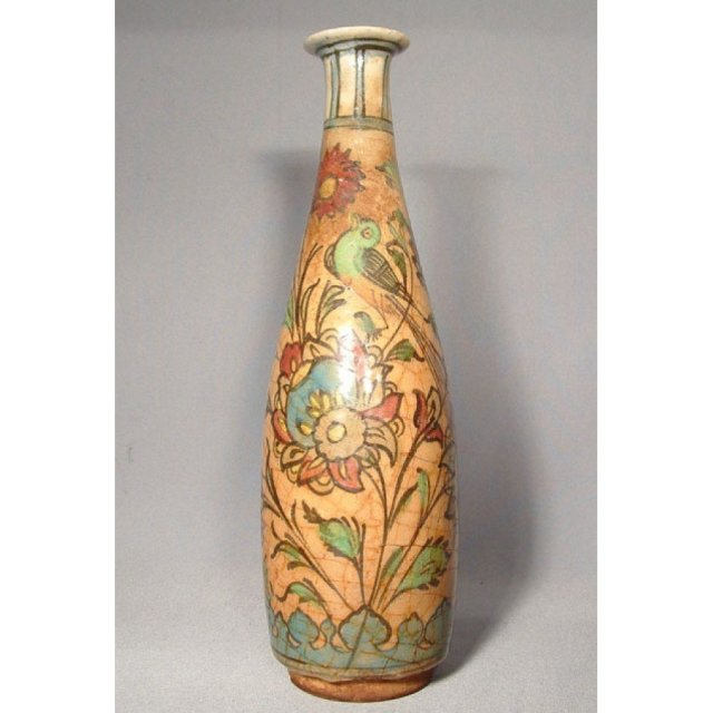 Antique Persian Islamic Ceramic Flask 19th c