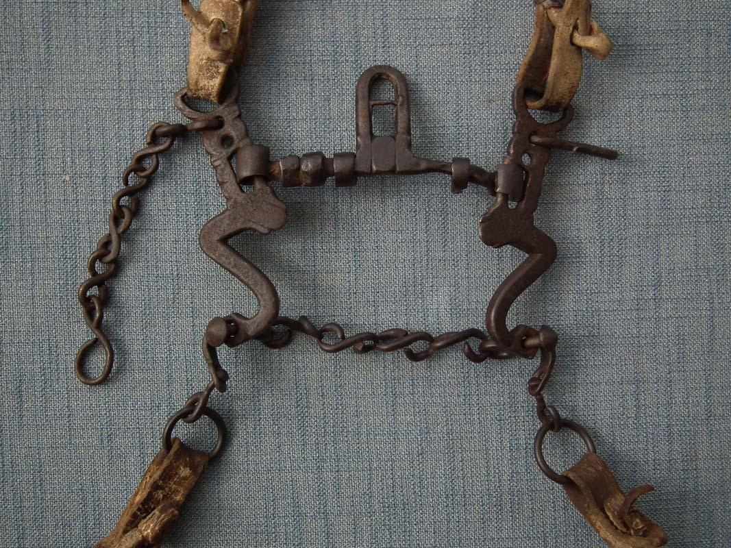 Antique 17th Century European Horse Iron Curb Bit with Leather Bridle