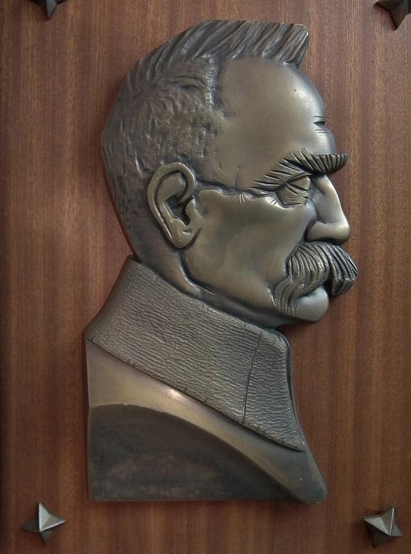 Antique Art Deco Bronze Relief Portrait Plaque Polish Marshal Jozef Pilsudski Poland