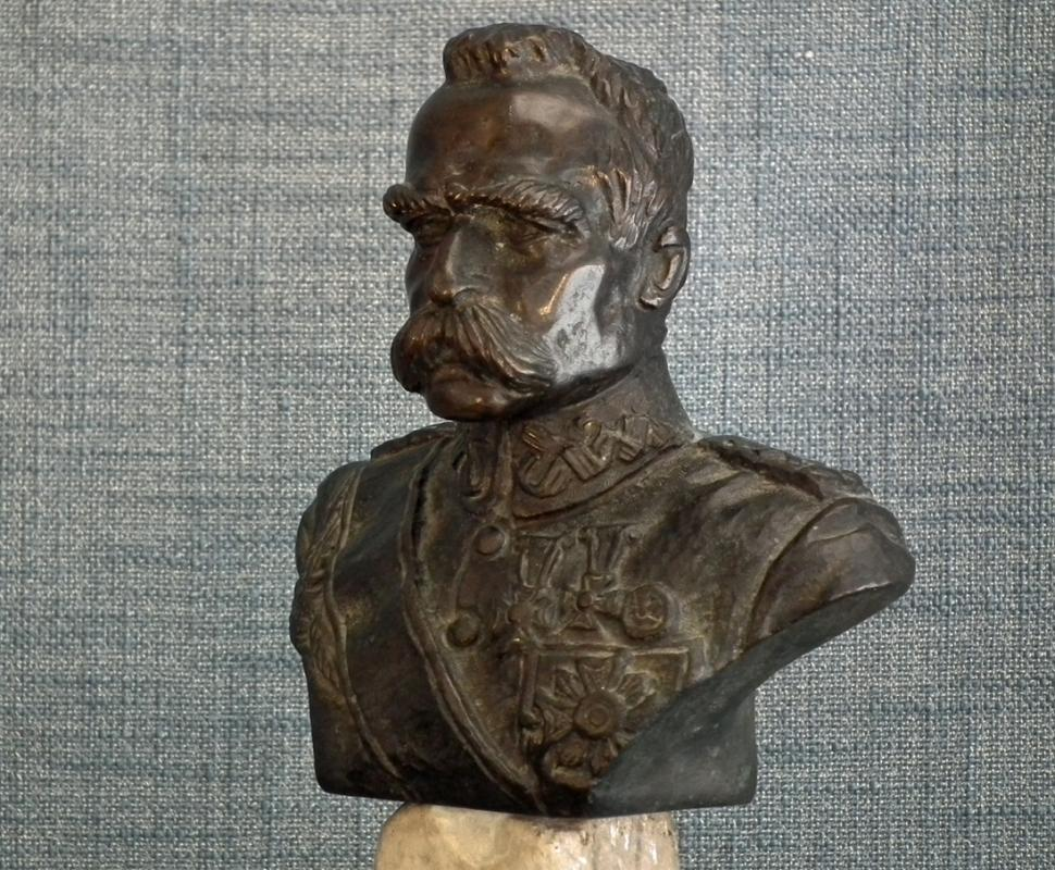 Antique Polish Bronze Sculpture Bust Of Polish Marshal Jozef Pilsudski