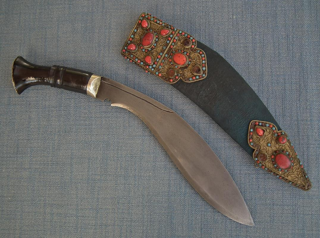 Antique 19th Century Jeweled Nepalese Gurkha Knife Kukri Khukuri