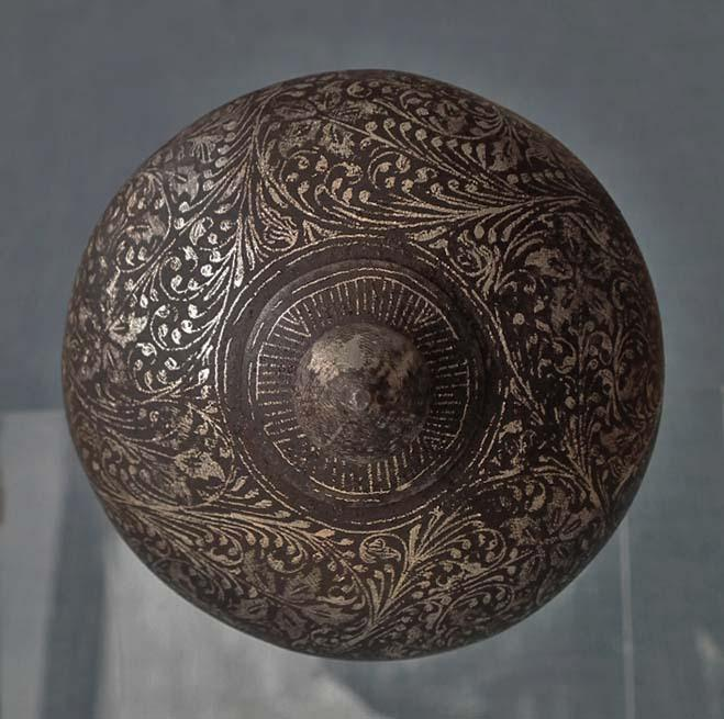 Antique 18th Century Indo-Persian Islamic Silver Inlaid Steel Mace