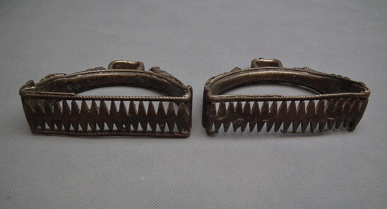 Pair Of Antique Islamic Mughal Indian Bronze Stirrups India 15th-17th century