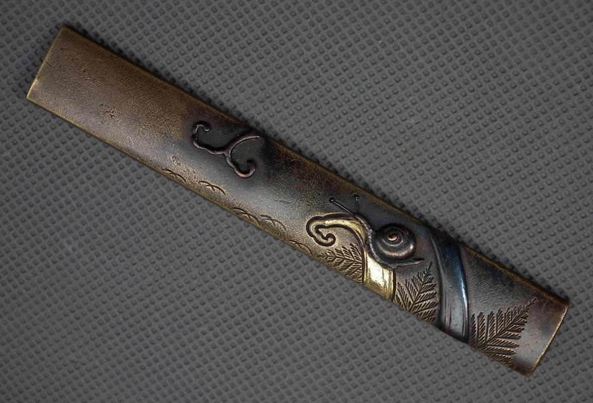 Antique Japanese Edo Period Smurai Kozuka Knife Handle With Snail