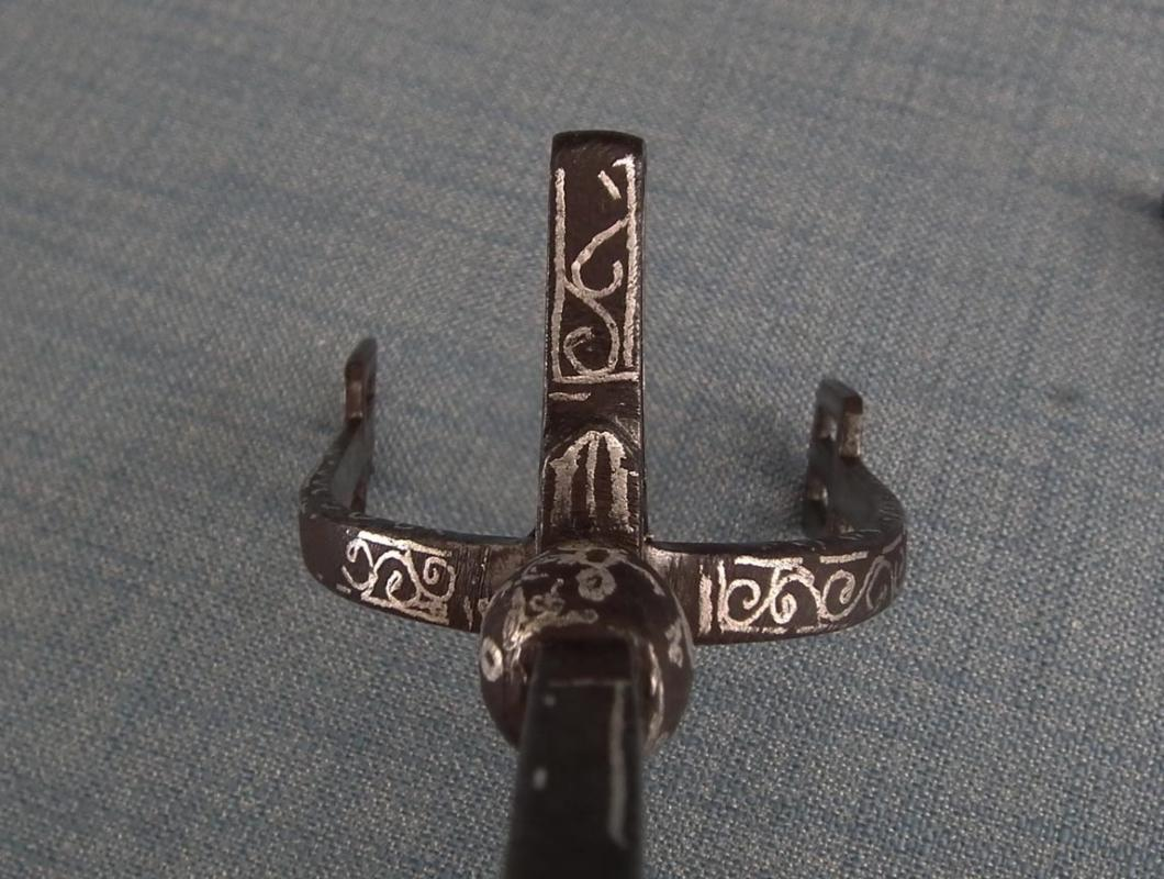 Antique 18-19th Century Islamic Ottoman North Africa Arab Silver Inlaid Iron Prick Spurs
