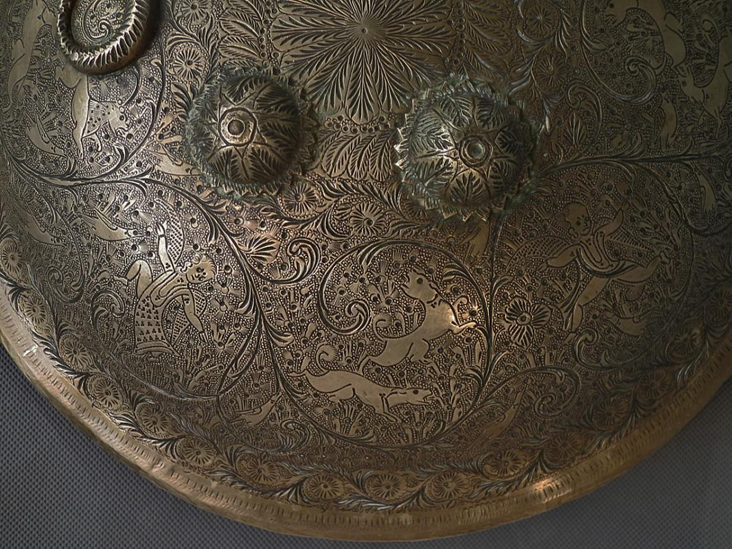 Antique Indo-Persian 19th century Islamic or Sikh Brass Shield Dhal