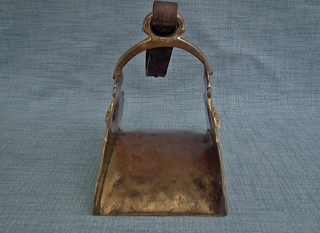 Antique 17th -18th Century Turkish Ottoman Gold Gilt Copper Tombak Islamic Stirrup
