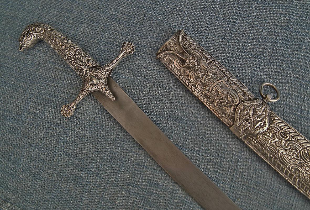 Antique 18th –19th century Silver Mounted Turkish Ottoman Islamic Sword Shamshir
