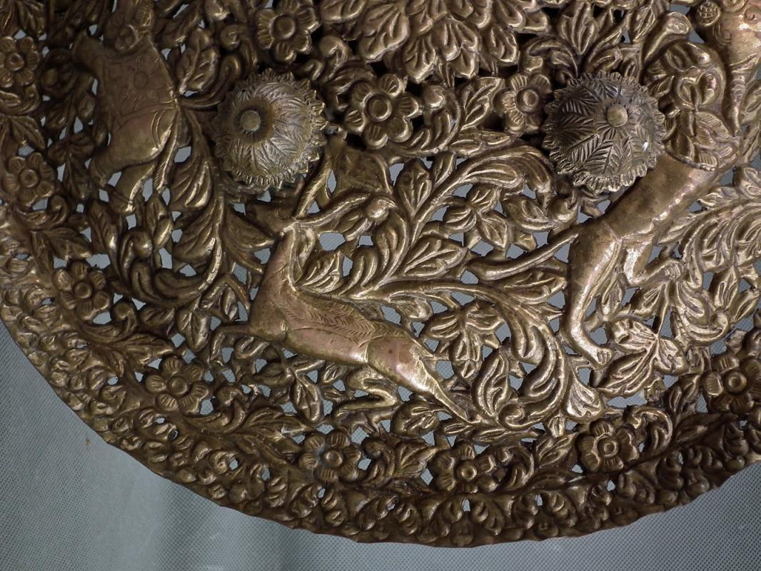 Antique 19th Century Indo Persian Gilt Copper Alloy Shield North India