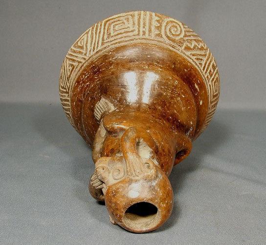 Antique Pre-Columbian Chavin Ceramic Effigy Monkey Vessel