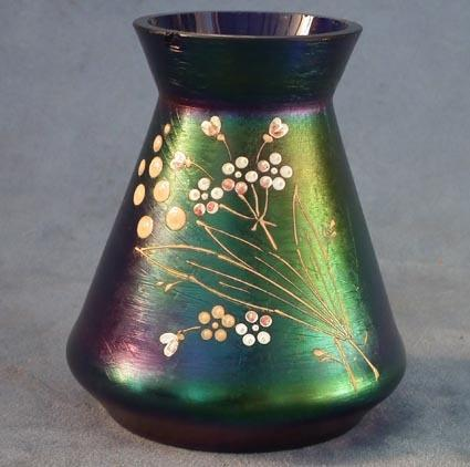 Antique Art Nouveau iridescent glass vase attributed to Loetz