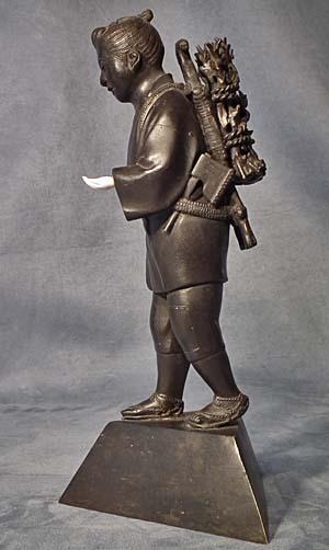 Antique Japanese Bronze Sculpture Figure Kinjiro Ninomiya Sontoku
