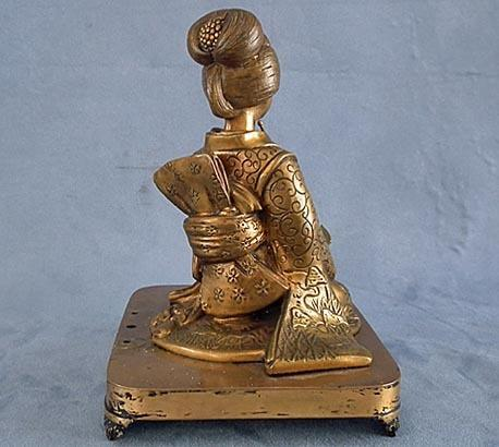 Antique 19th century Japanese Bronze Geisha Sculpture Meiji Period