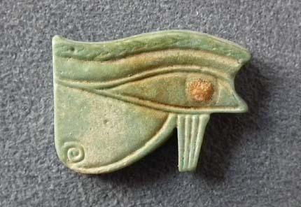 Ancient Egyptian Faience Amulet Eye of Horus UZAT Wadjet Eye 664-525 BC