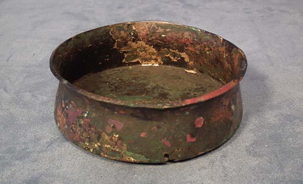 Ancient Greek Bronze Bowl with Traces of Gold Gilding 5th c BC