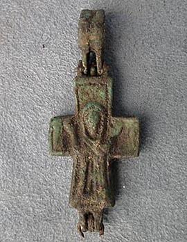 Authentic 9th-12th century AD Antique Byzantine Bronze Pectoral Reliquary Cross