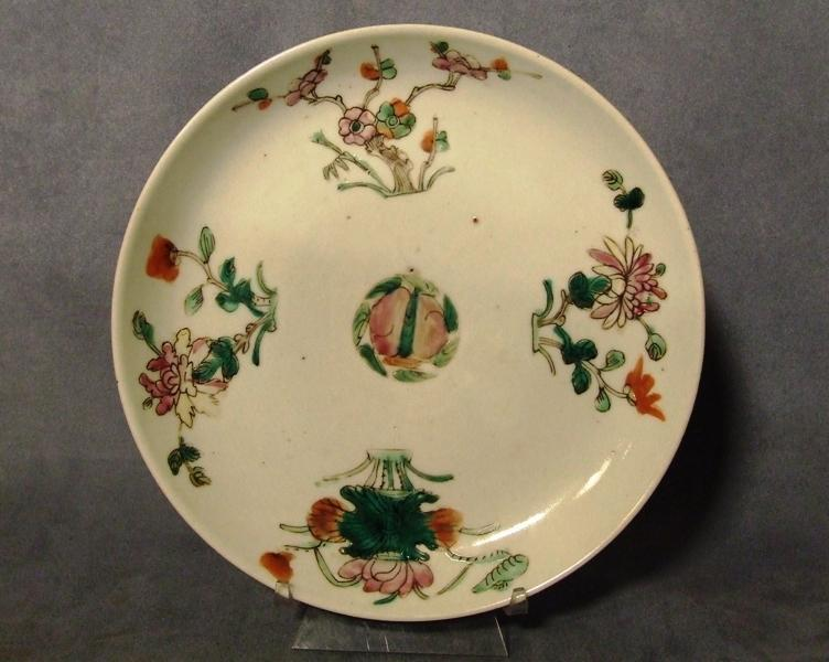 Antique Chinese Famille Rose Hand Painted Enameled Plate Qing Dynasty 19th C