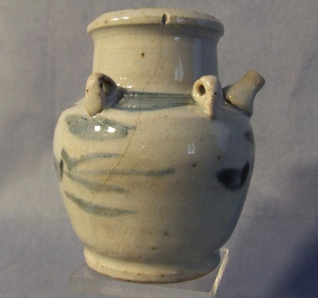 Antique Chinese Celadon Blue and White Water Dropper, Ming Dynasty 15th - 16th c
