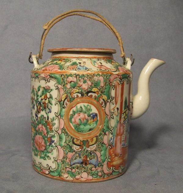 Antique Chinese Mandarin Rose Tea Pot Quing Dynasty 19th c