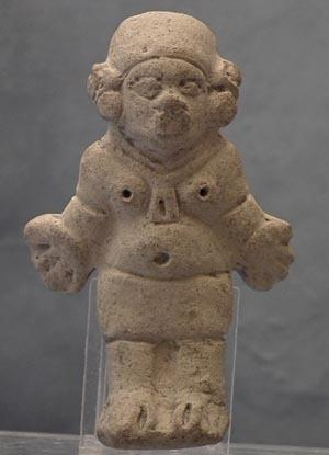 Antique Pre-Columbian Jama - Coaque Ceramic Female Figure 300 BC- 400AD