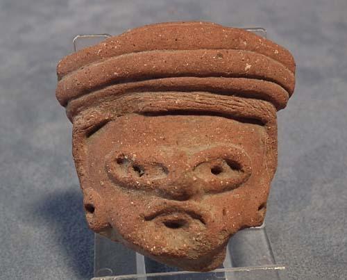 Antique Pre-Columbian Mayan Circa: 500AD to 900 A.D. Terracotta Head