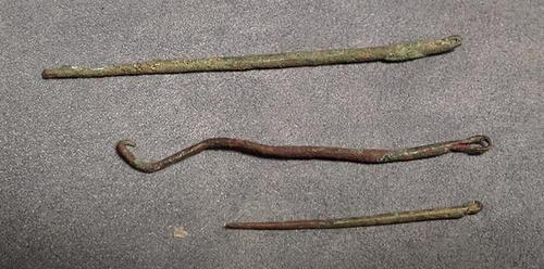 Antique Pre-Columbian three copper sewing needles Moche 100-400 BC