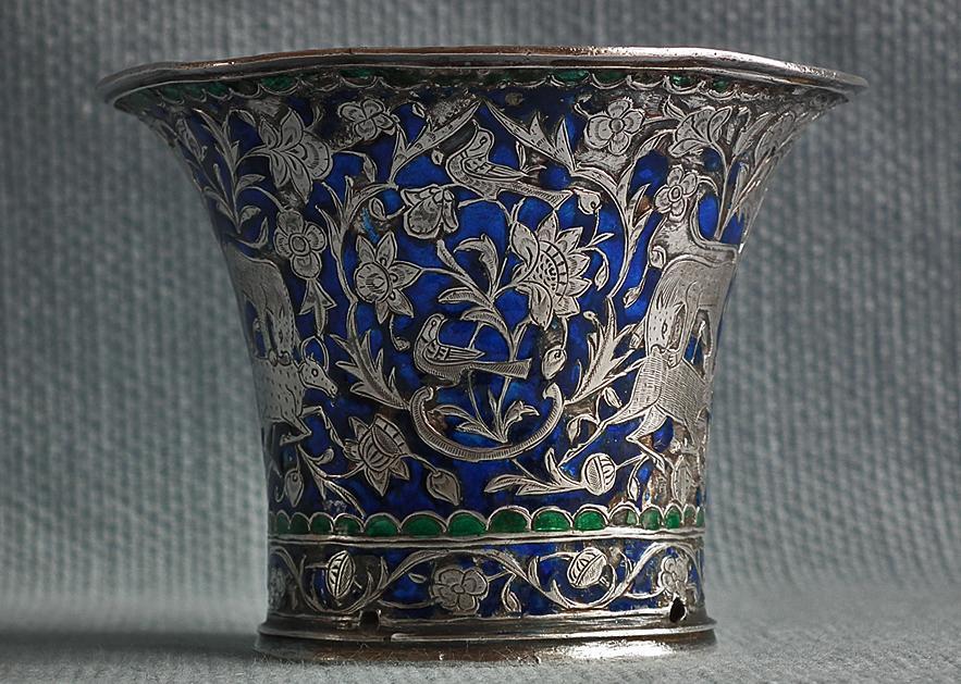 Antique Persian Qajar Silver enameled Islamic Nargileh Qalyan Cup