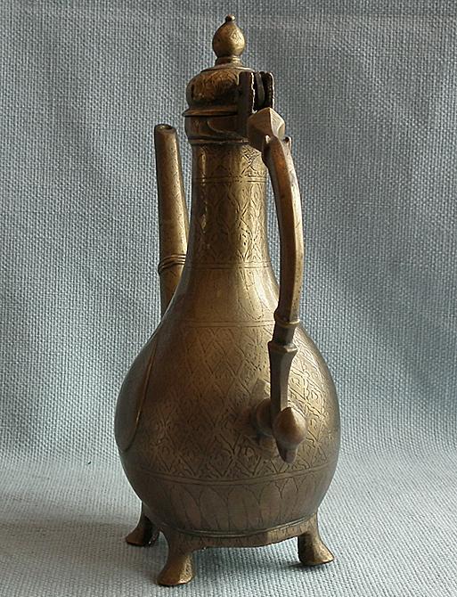 Antique Mughal Northern Indian Islamic Brass Ewer Aftaba 18th Century India
