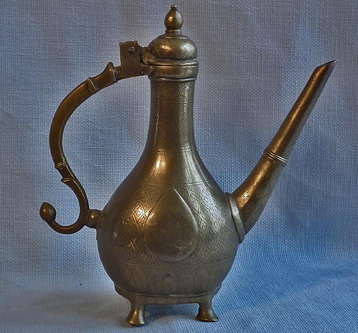 Antique Mughal Northern Indian Islamic Brass Ewer Aftaba 18th Century India