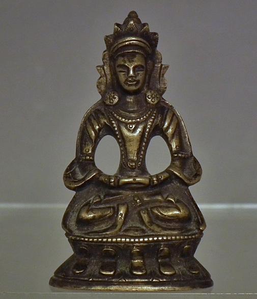 Antique 18th -19th century Sino Tibetan Small Bronze Figure of Guanyin Quan Yin